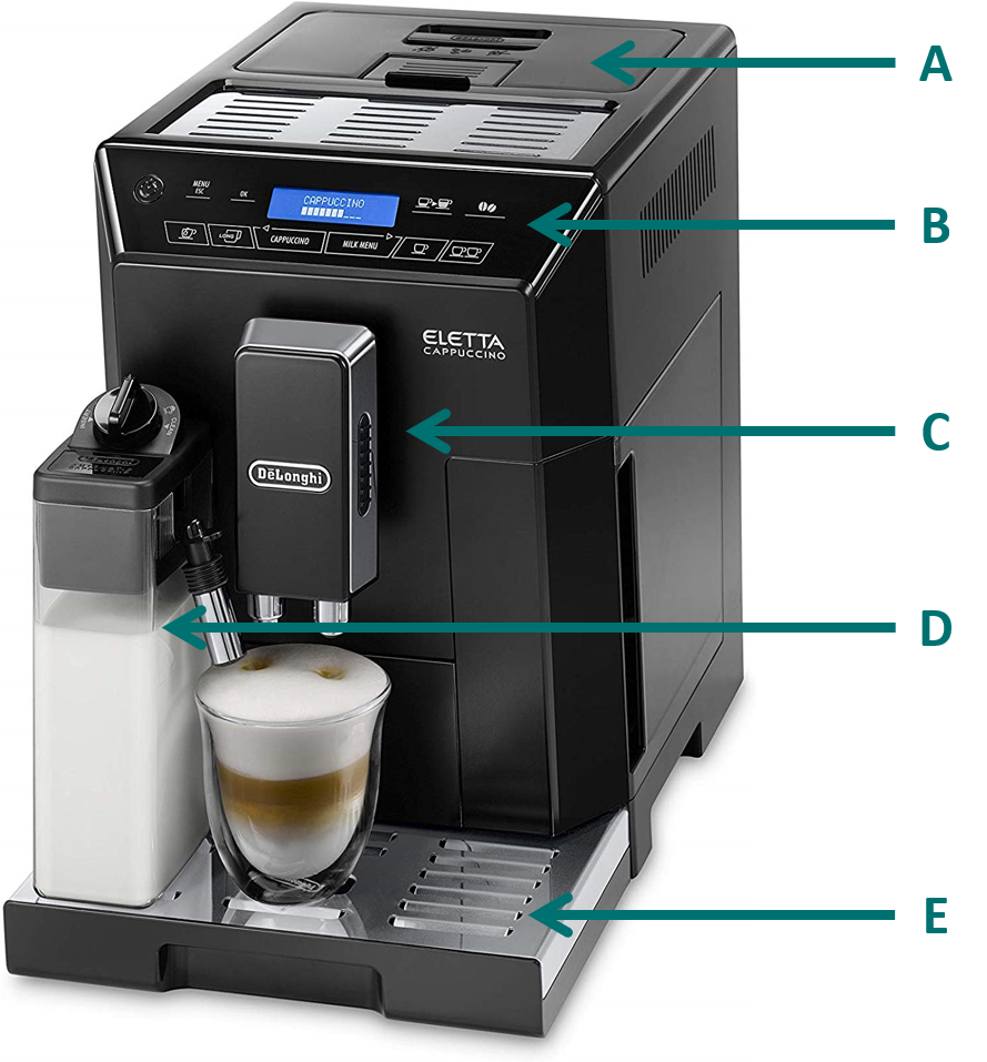 Image of the De'Longhi Eletta cappuccino machine