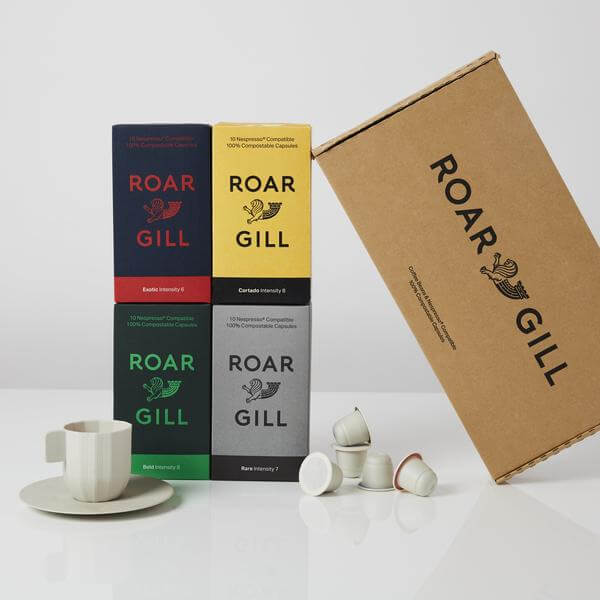 Image of sustainable coffee pods by the brand Roar Gill. The image shows their starter pack which contains 4 boxes of different coffee blends.