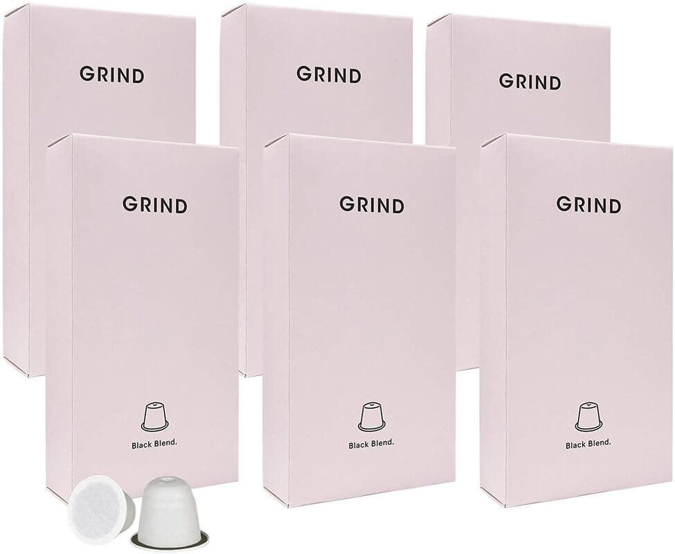 Image of 100% compostable Nespresso pods from the brand Grind. Simple packaging with the brand name in bold text.