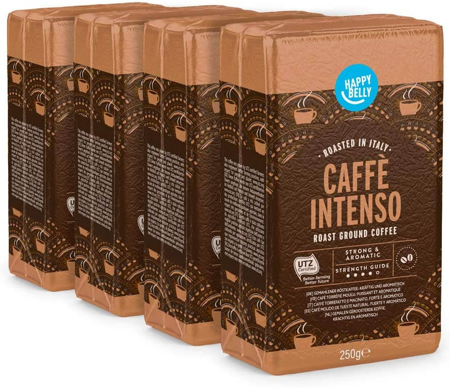 Photo of 4 packs of the Caffe Intenso ground coffee.