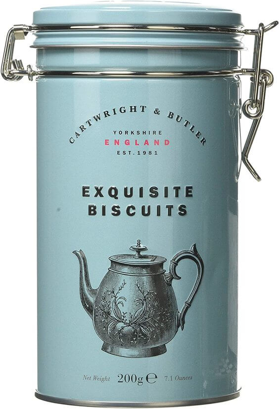Retro looking biscuit tin with a picture of an old fashioned teapot on the front. These biscuits are from luxury biscuit brand Cartwright & Butler.