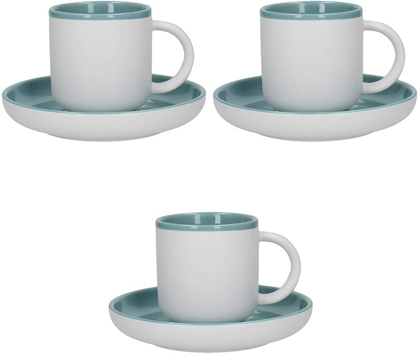 Picture showing three espresso cups with matching saucers.