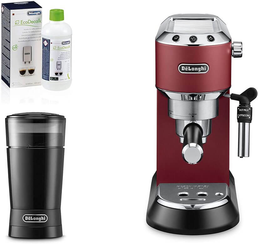 Picture of the De'Longhi Dedica espresso machine in red, with a separate grinder and descaler set.