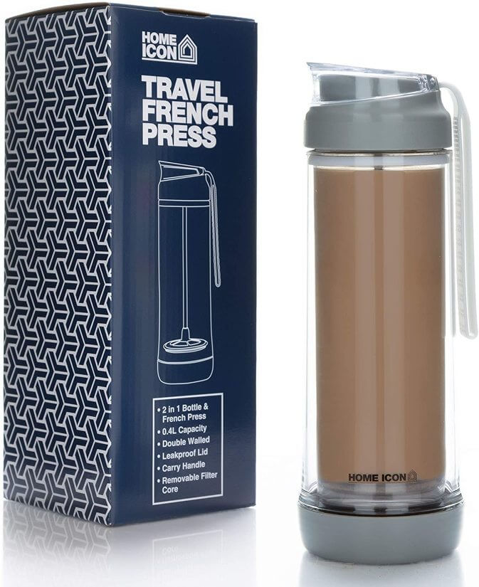 Image of a tall travel mug with an integrated French Press system.