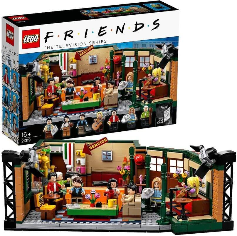 TV show Friends Lego set. The picture shows the Central Perk studio in Lego form. It has all of the main characters and details.