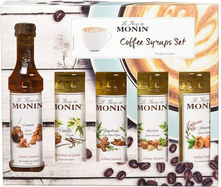 Photo of gift box containing 5 mini coffee syrups.