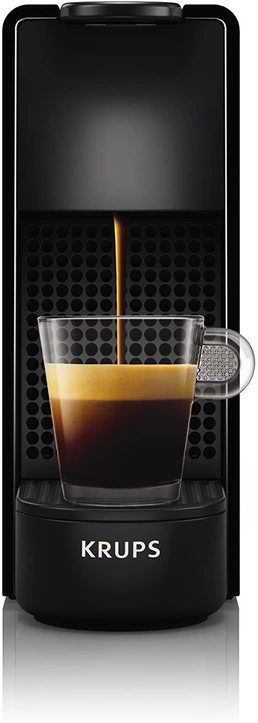 Picture of mini Nespresso coffee machine in black. You can see coffee pouring into a clear cup in the image.
