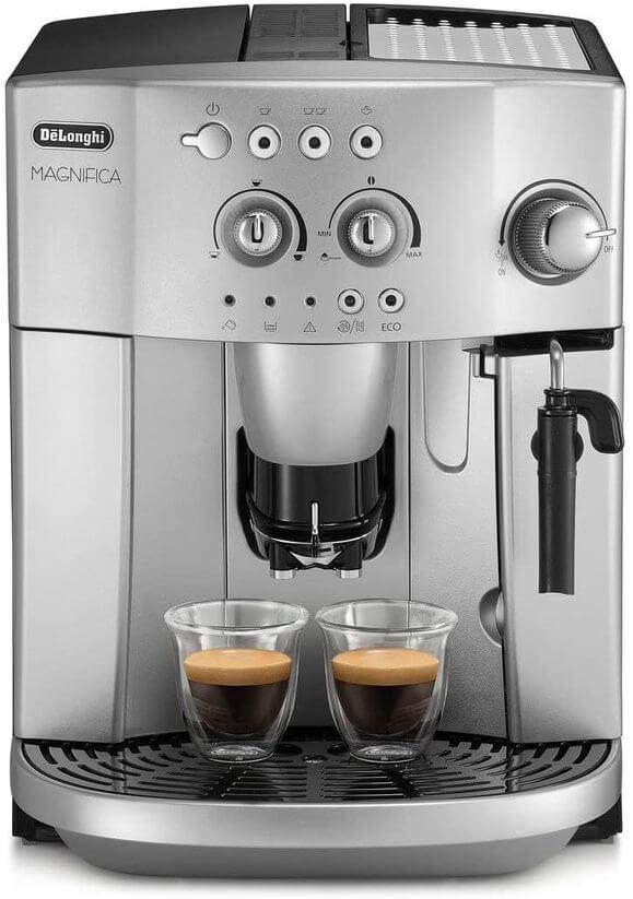 Picture of silver semi-automatic cappuccino machine.